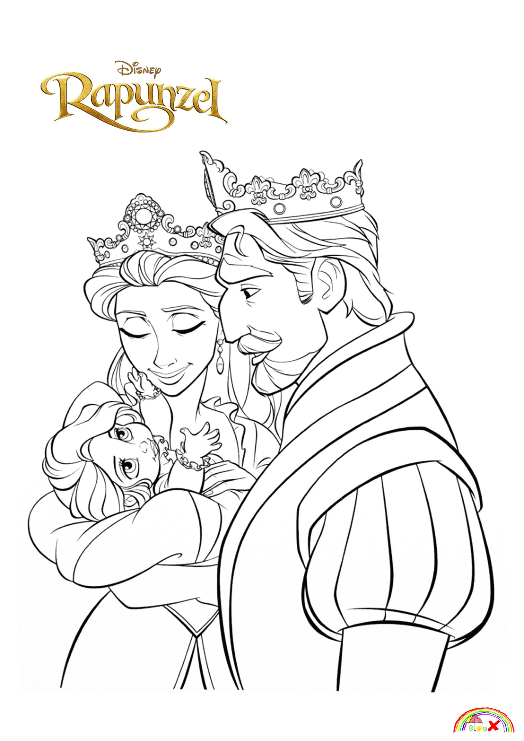 Baby Rapunzel with her parent King Frederic and Queen Arianna