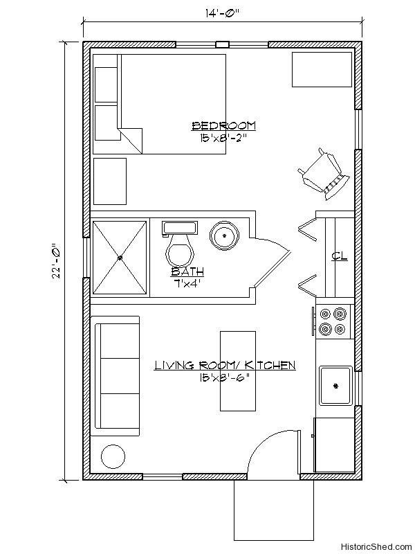 14 39 x22 39 narrow one bedroom one bath cottage 308 sf by for Guest apartment floor plans