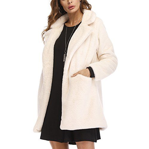 8a5ff90cdd1a Joseph Costume Winter Faux Fur Coat For Women Long Sleeve Lapel Warm  Outwear Cardigan Overcoat Jacket Outfit White XL Best Winter Coats USA