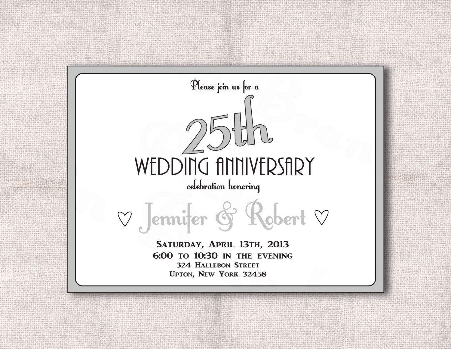 Surprise 25th Wedding Anniversary Invitation Templates