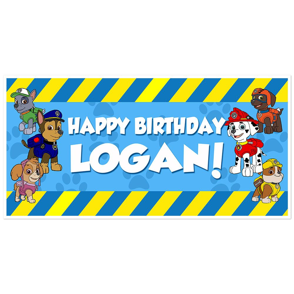 Paw Patrol Yellow And Blue Striped Personalized Birthday Banner