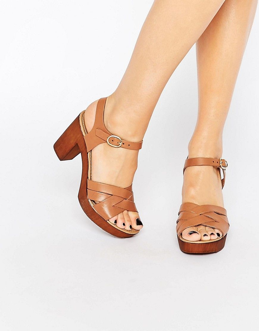 Image 1 of Dune Jani Platform Tan Leather Sandals