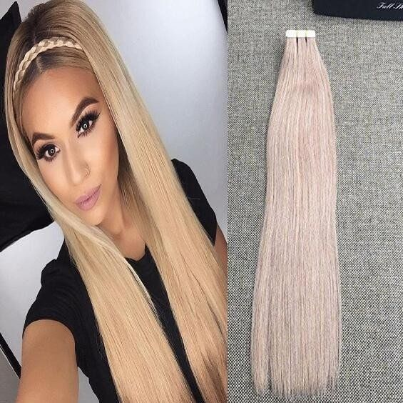 Ash Blonde Glue In Hair Extensions Human Real Hair Extensions Full