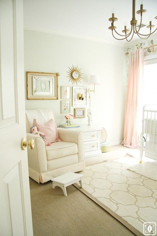 Nursery In Soft Pink Cream And Green