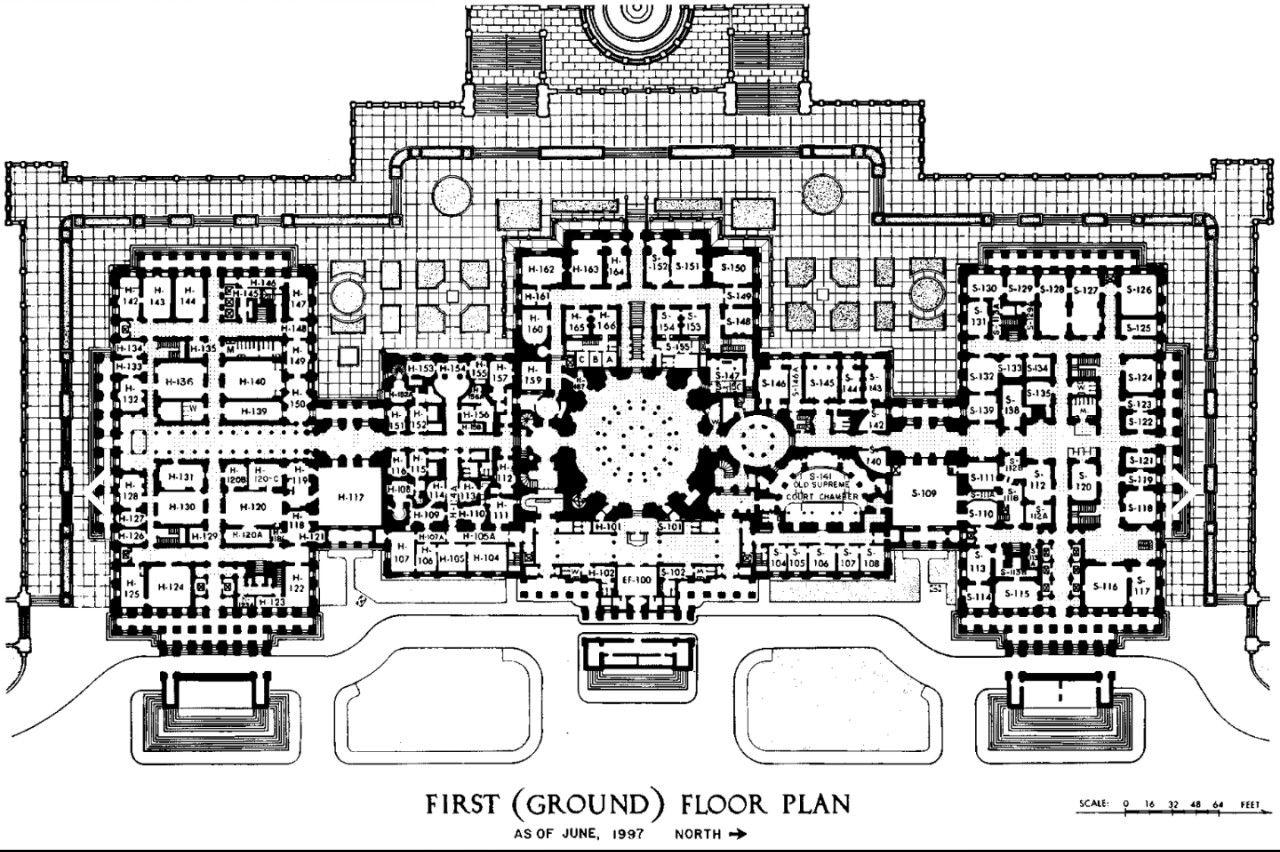 Premoderno United States Capitol Building Latrobe Architecture - Us-capitol-floor-map