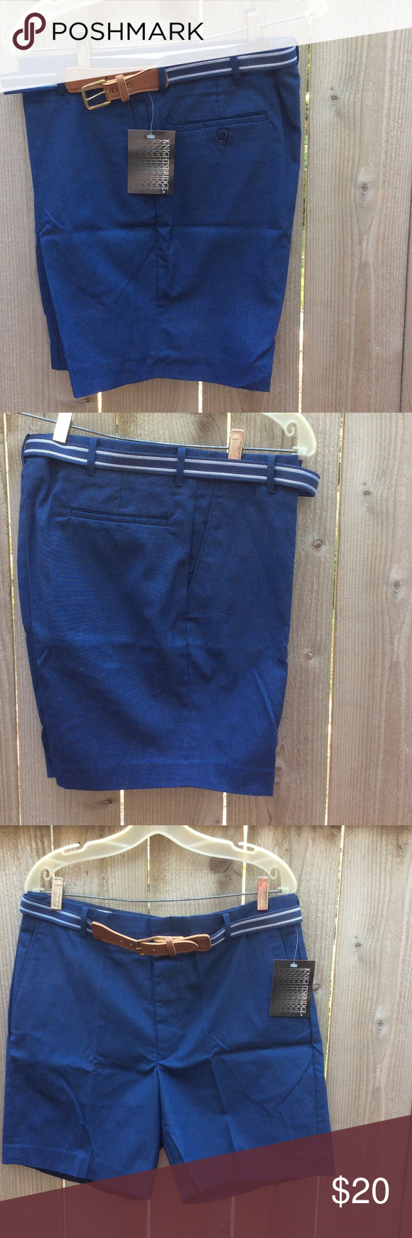 Men's Knightsbridge Dress Shorts with Belt New with tags shorts in dark blue. 60% cotton, 40 polyester. Waist size 36. Includes matching belt. Knightsbridge Shorts Flat Front