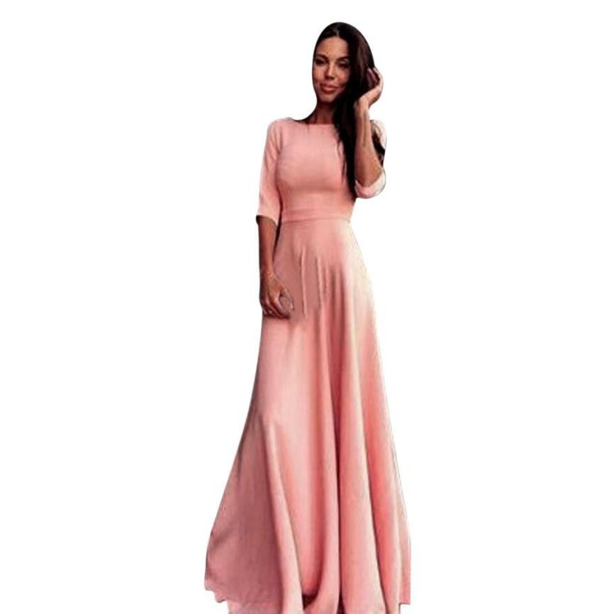 Buy Hot Sale Fashion Pink Women High Waist Long Party Ball Prom Gown ...