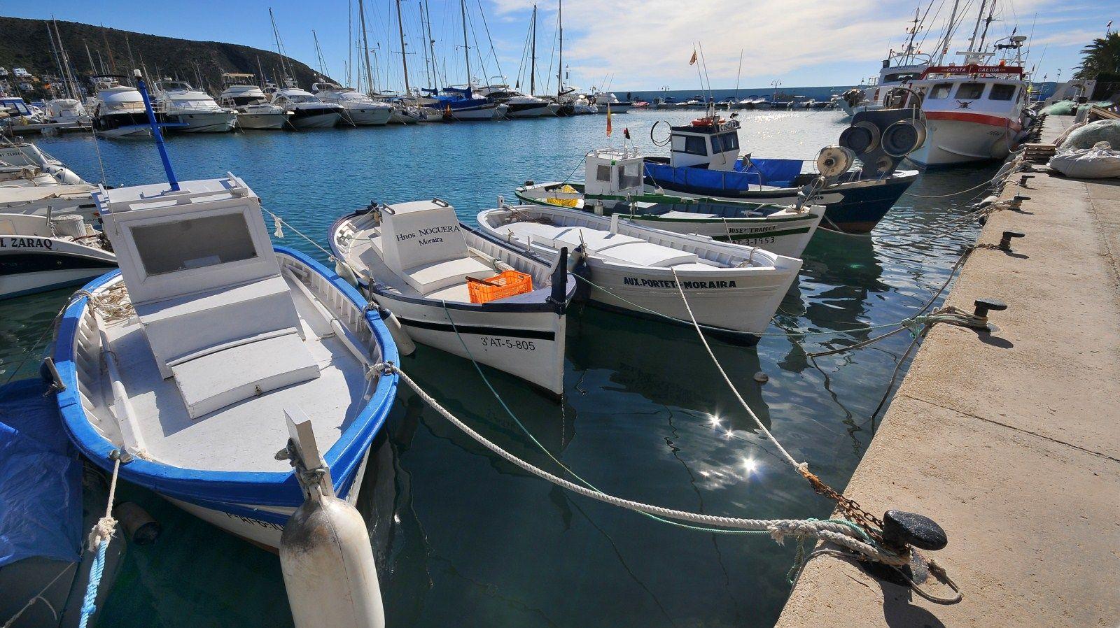 Plezier vissersbootjes in de haven.