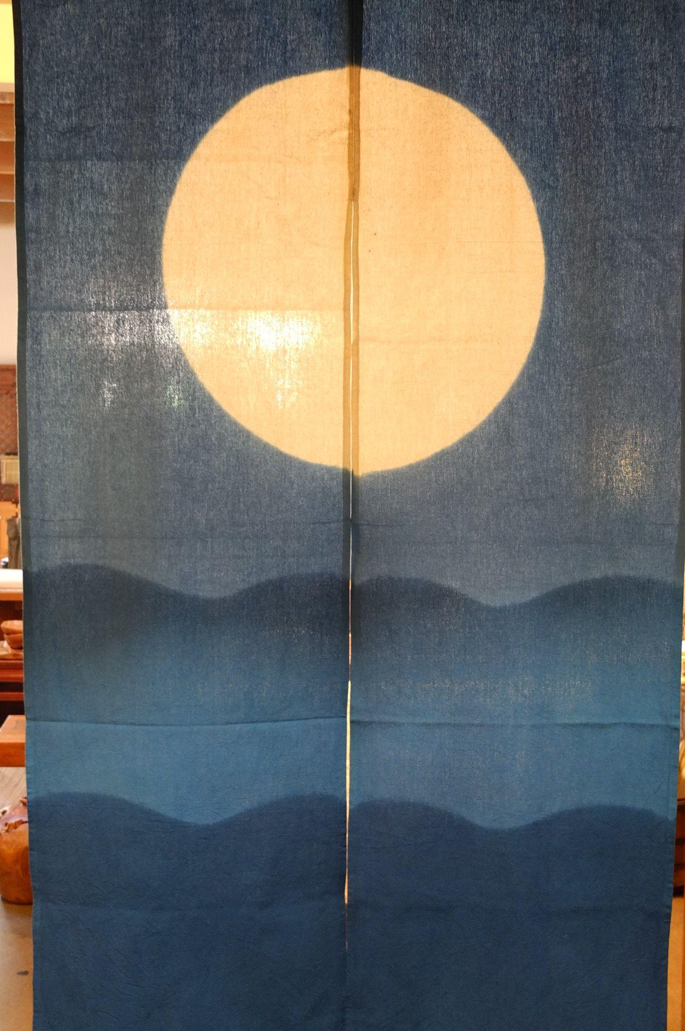 Japanese Noren White Moon Over Ocean On Blue Noren Curtains