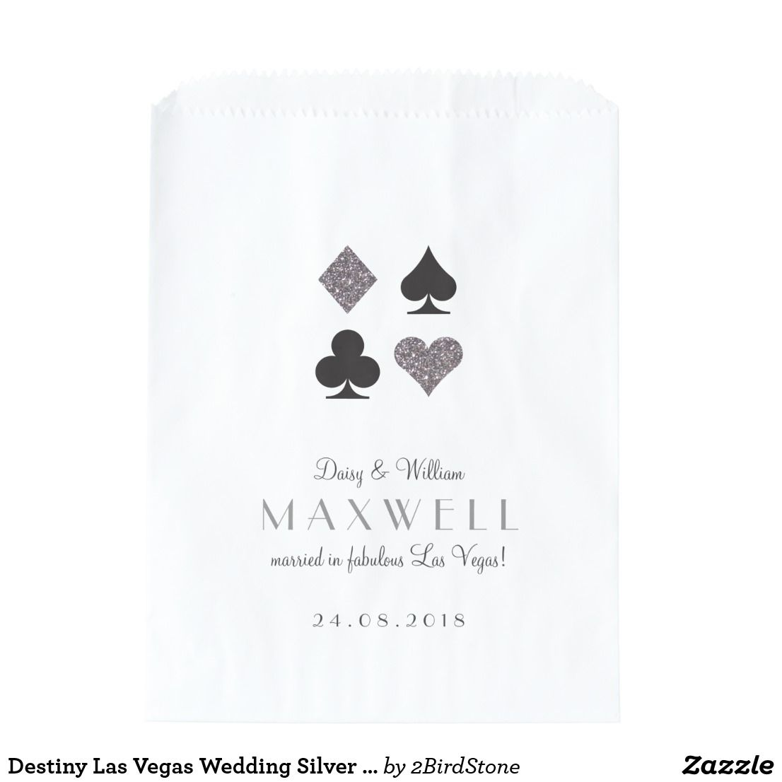 Destiny Las Vegas Wedding Silver Glitter Favor Bag | Favor bags, Las ...