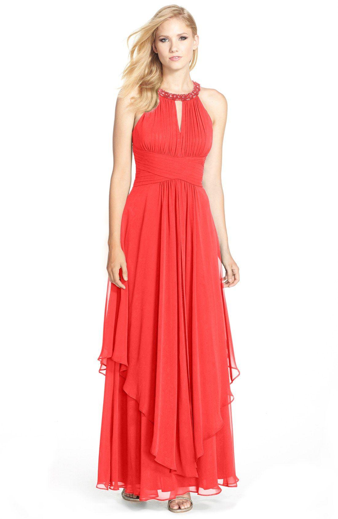 Eliza J Embellished Tiered Chiffon Halter Gown | Nordstrom | Lindsay ...