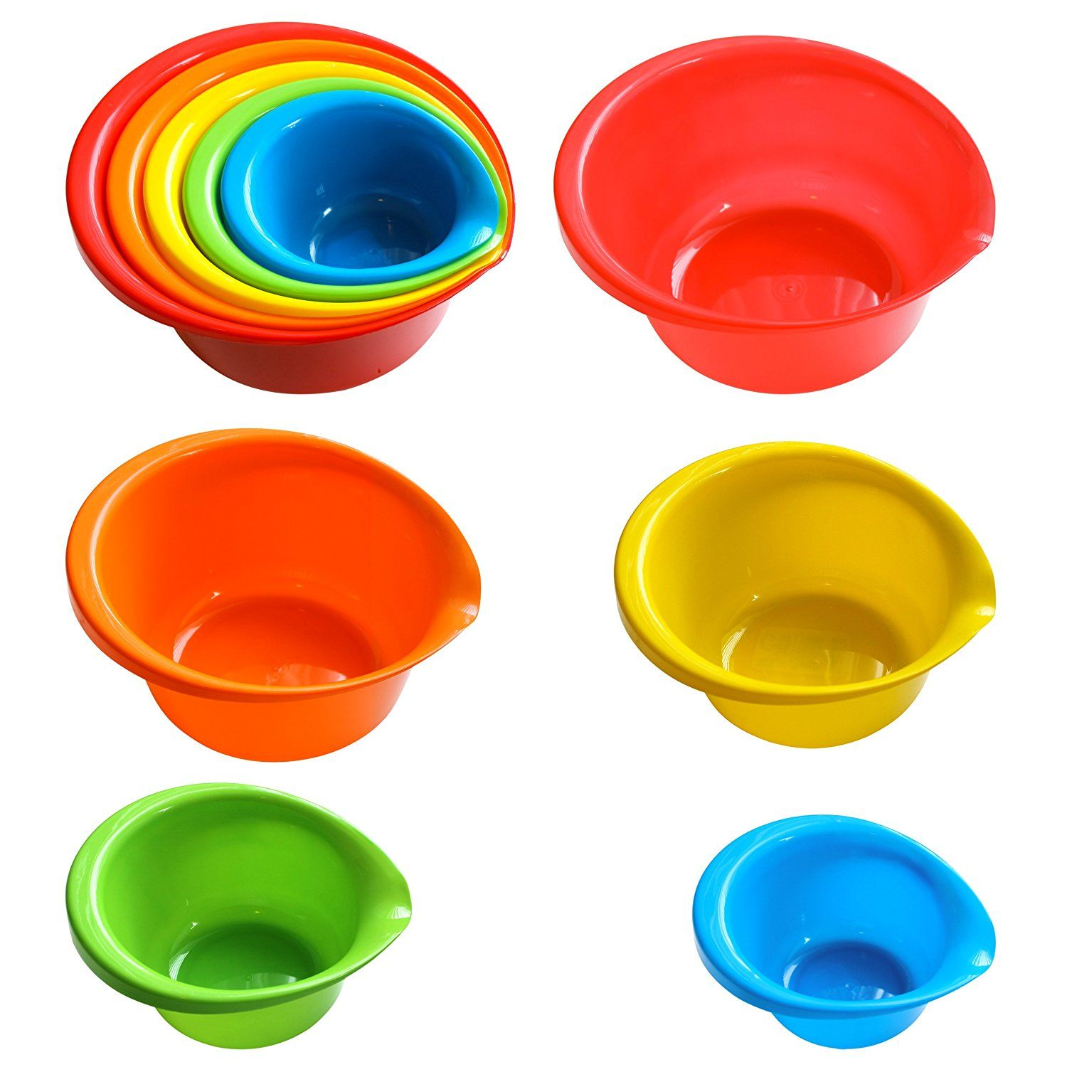 5 Piece Plastic Mixing Bowls With Built In Pouring Spouts In Assorted Colors And Assorted Sizes Special Dis Bowl Mixing Bowls