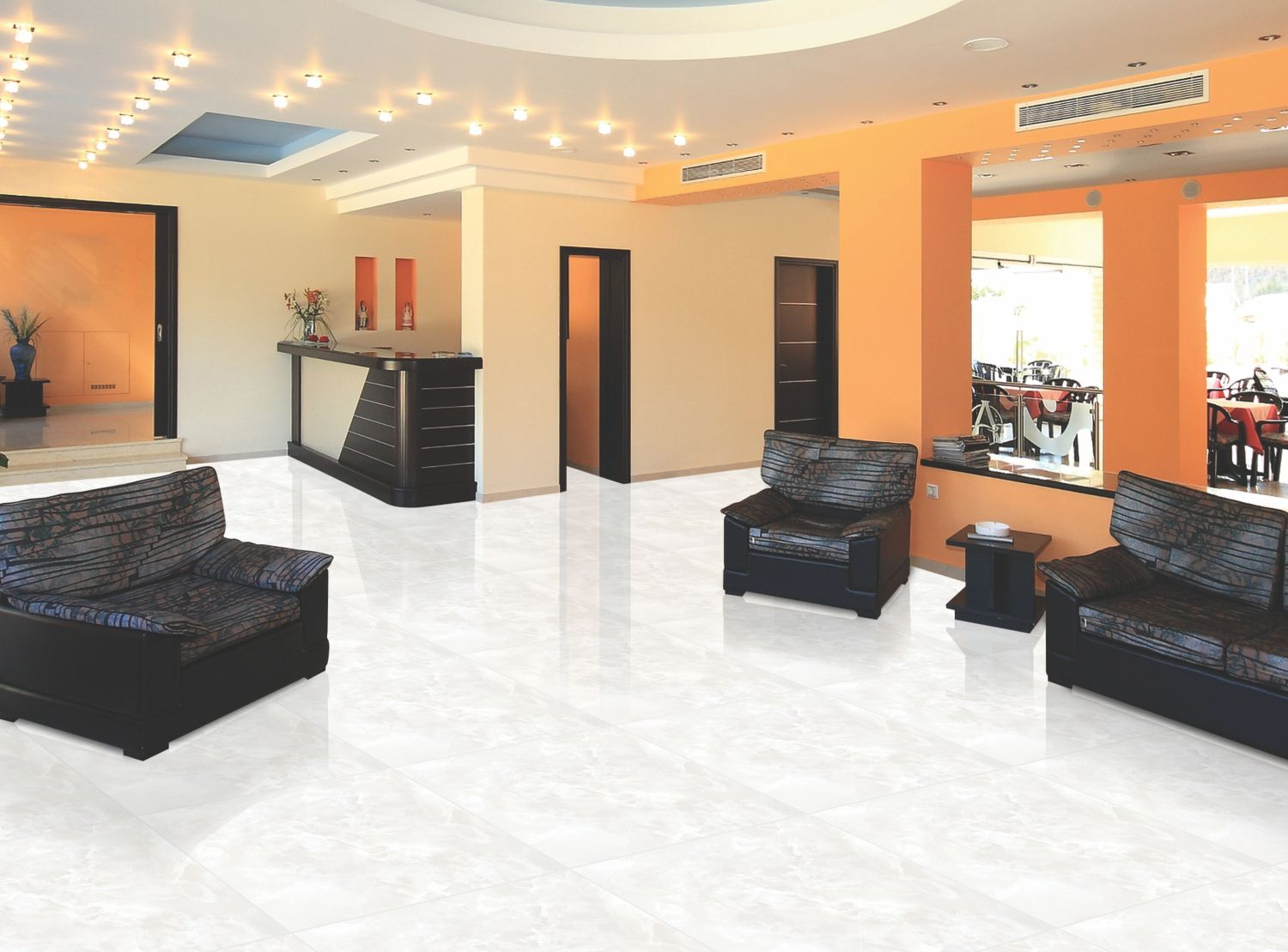 White Tiles for home and offices - http://www.orientbell.com ...