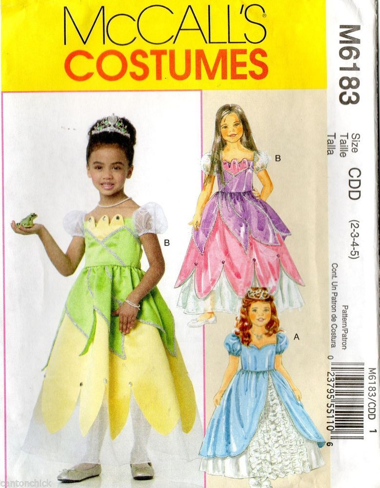 Craft Sewing Pattern Costumes Princess Girls Size 2 3 4 5 New Uncut
