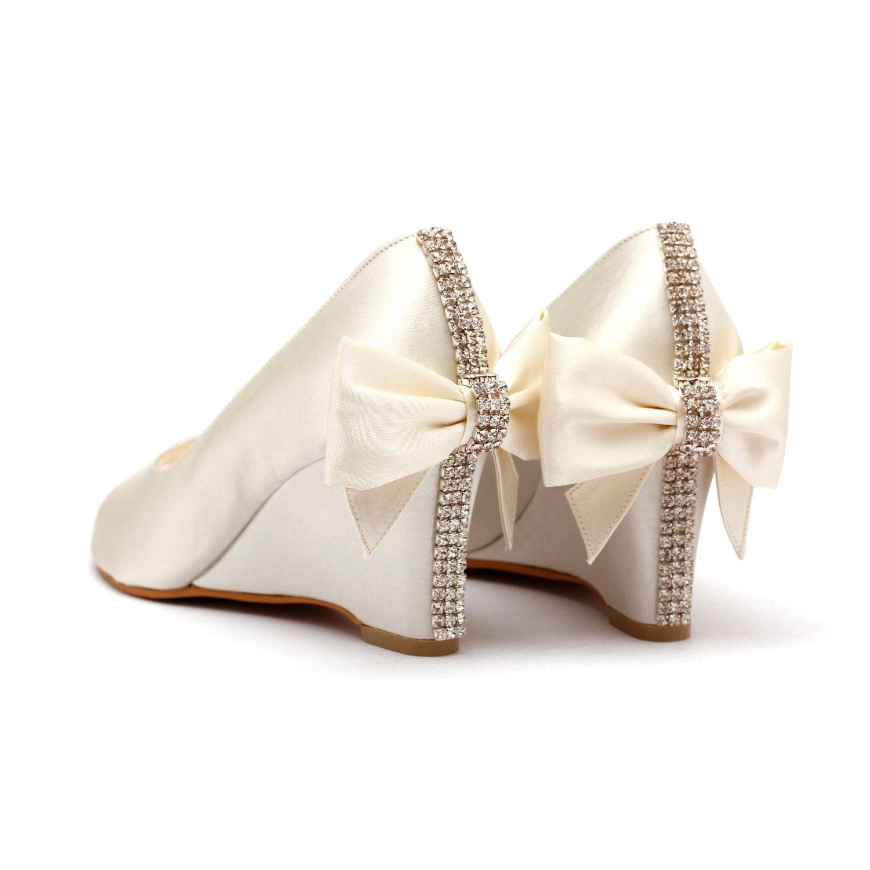 Ivory Rhinestone Wedding Shoes White Bridal Wedges Garden Beach