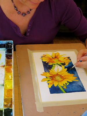 Painting Sunflowers Behind The Scenes Of Watercolor Workshop