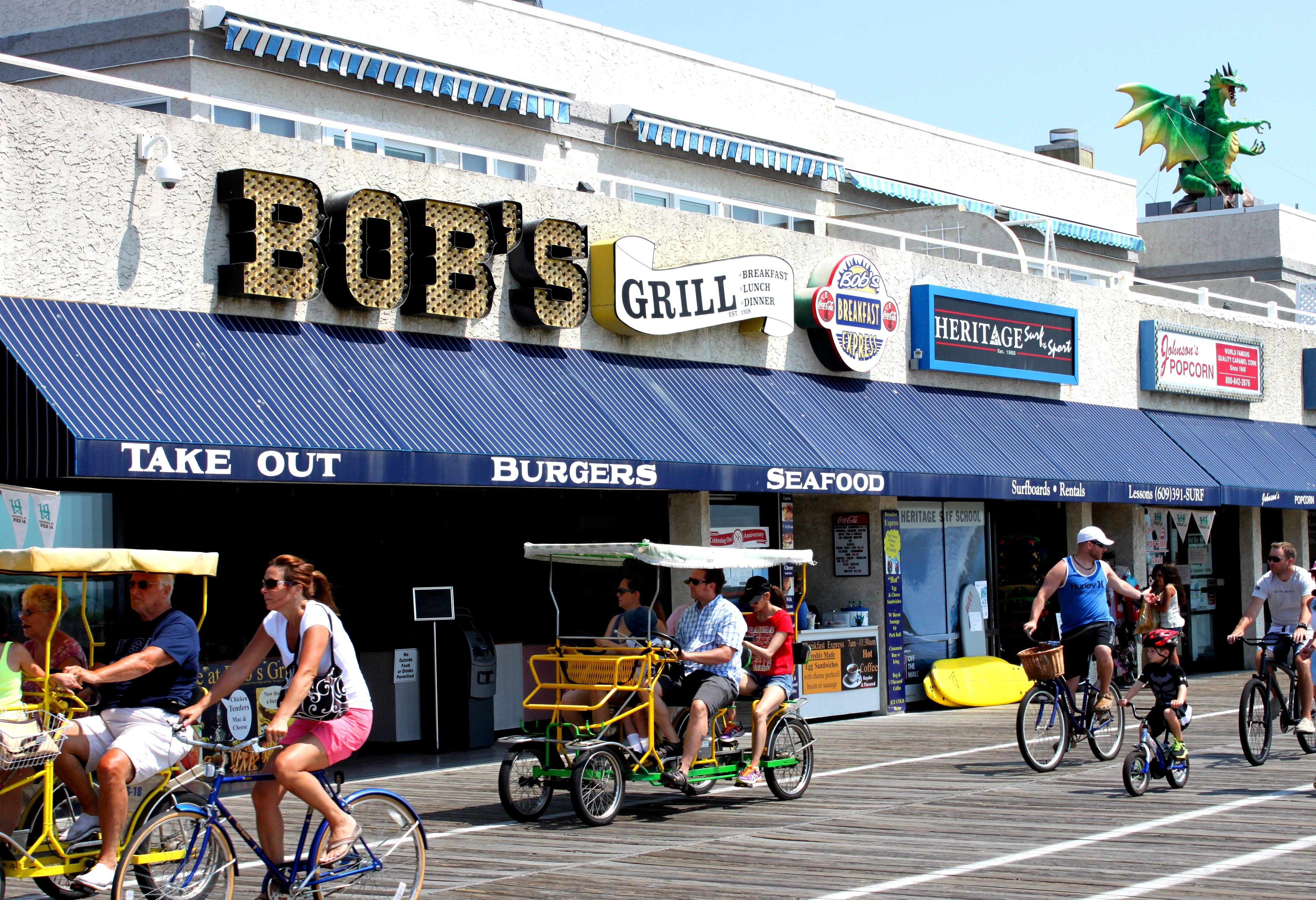 It S Never A Bad Day For The Boardwalk When You Have An Awning To Hide From The Weather Take Out Burger Jersey Shore Awning