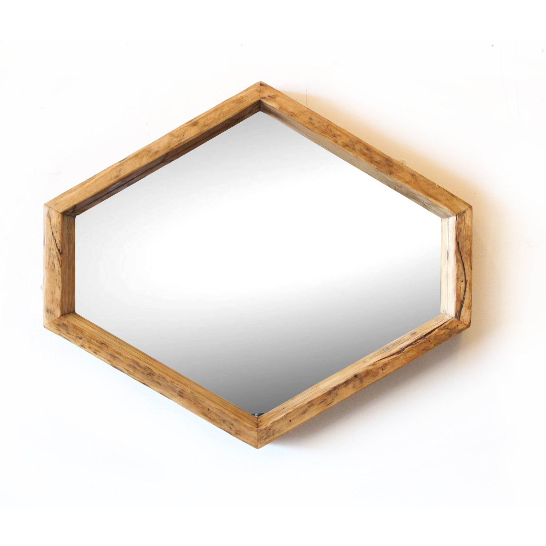 Retro Hexagon Mirror In Natural Aged Fir By SilicateStudio