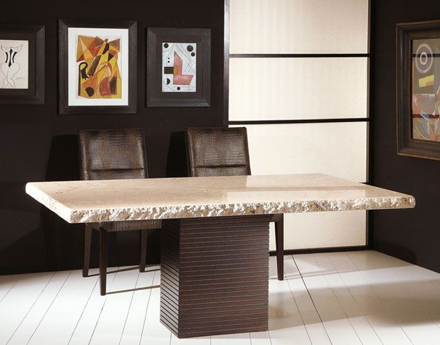Stone International Rough Edge Marble Dining Table Stone Top