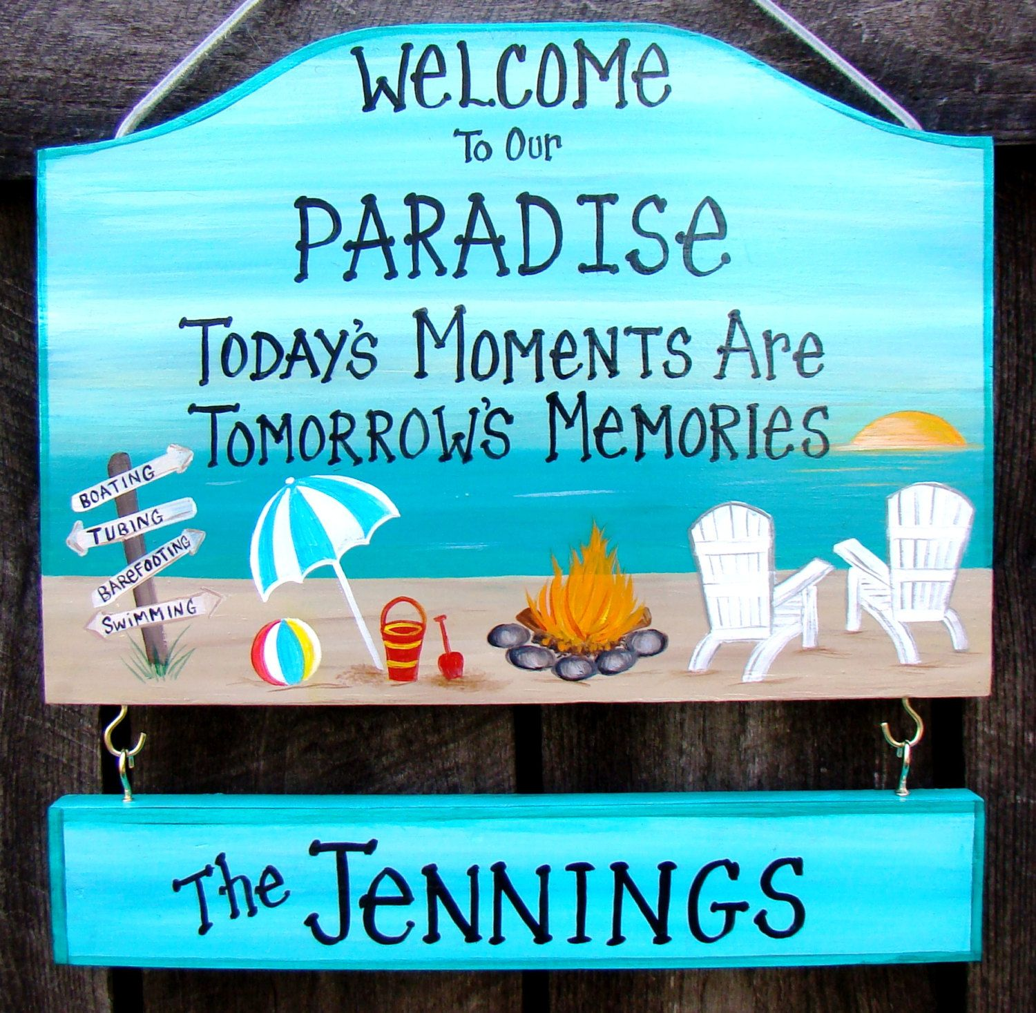 Custom Welcome To Our Paradise Camp Camping Or Backyard Home Yard Beach Summer Sign Campfire Personalized Signs With Backyard Signs Beach Signs Summer Signs