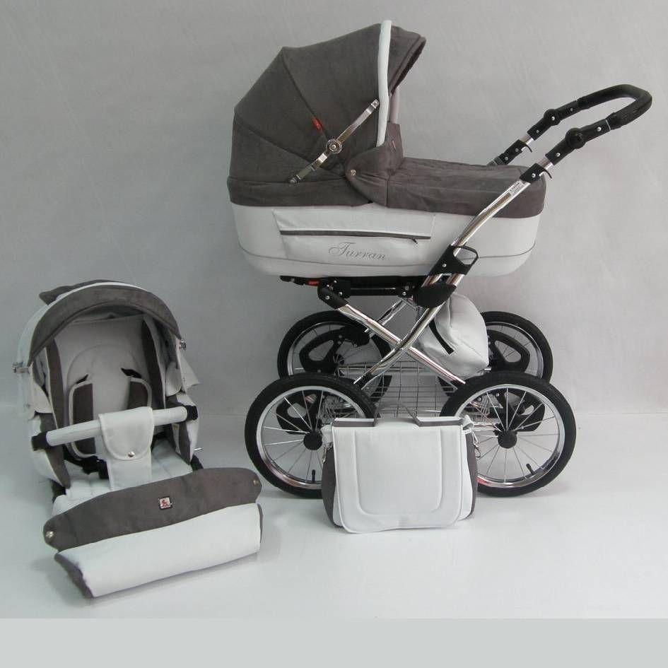 Tutek Zeer luxe kinderwagen Turran eco leather TS-R5 taupe-wit. Geheel compleet met autostoel, 2 luiertassen, regenhoes, 3 zonnekappen en 3 beendekken voor slechts € 578,00