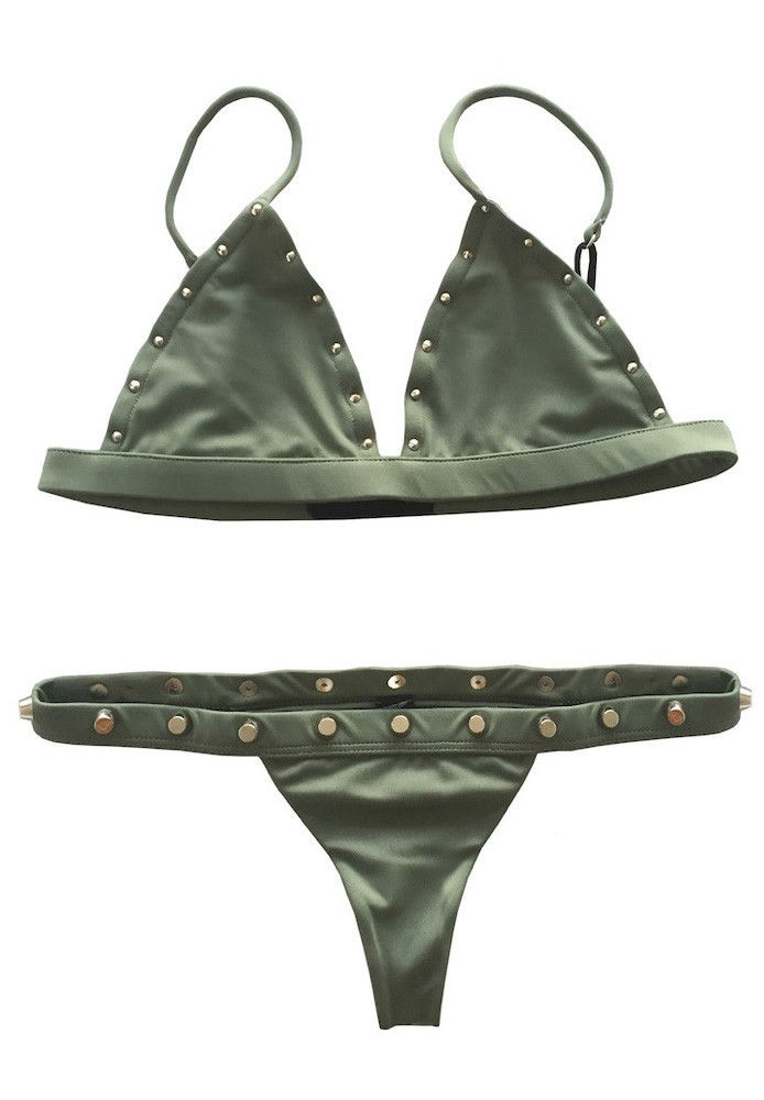 2b8fe7f9f42 Indah   Karlie Top x Cole Bottom Bikini Separates (Army Green Studded)