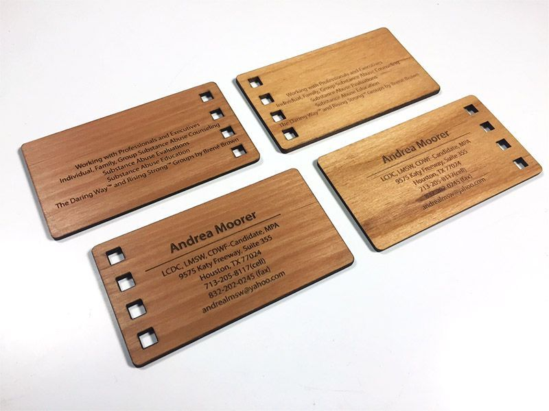 Our Wood Business Cards Are Thick And Made Of Real Wood Alder Maple Or Mahagoany Sta Wood Business Cards Laser Engraved Business Cards Wooden Business Card