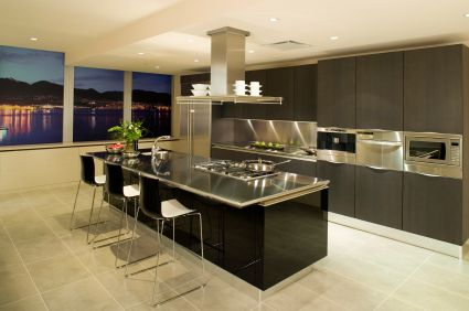 cool modern apartments modern apartment kitchen with ilot central inox - Cuisine Avec Piano Central