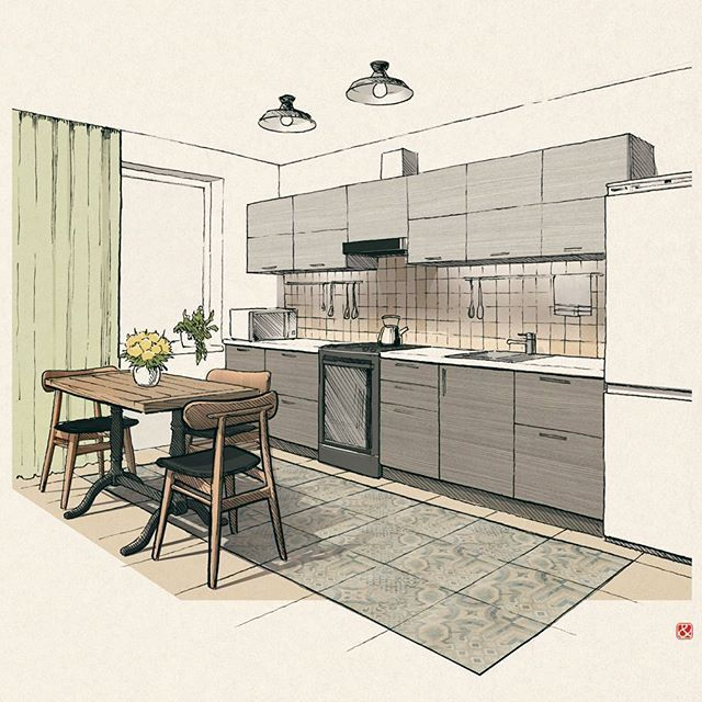 Interior Design Sketches Kitchen small kitchen drawing #sketch #interiorsketch #interiorsketches