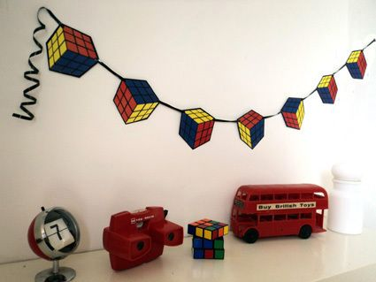 80 39 s party decoration rubiks cube bunting banner bunting banner 80 s and buntings - Cube deco mural ...