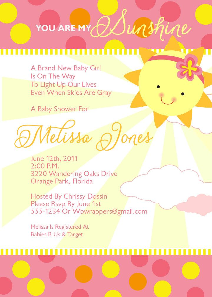 You Are My Sunshine Baby Shower Invitations - Girly - Summer ...