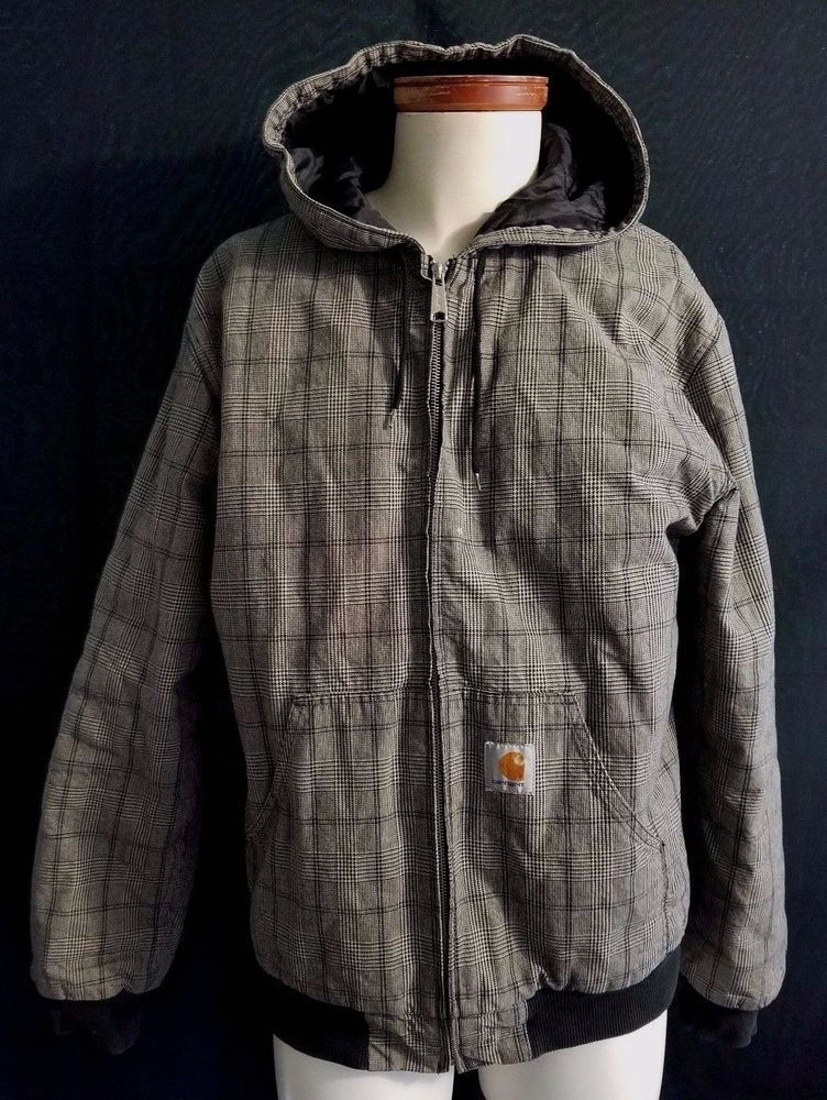 mens carhartt plaid cotton lined hooded jacket with on men s insulated coveralls with hood id=48364
