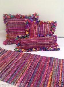 Fab Multi Colour Gy Rag Rug Cushion Cover Various Sizes Inc Floor 5a Ebay