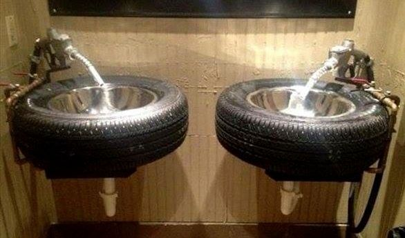 Spare Tyres Make Great Wash Basins