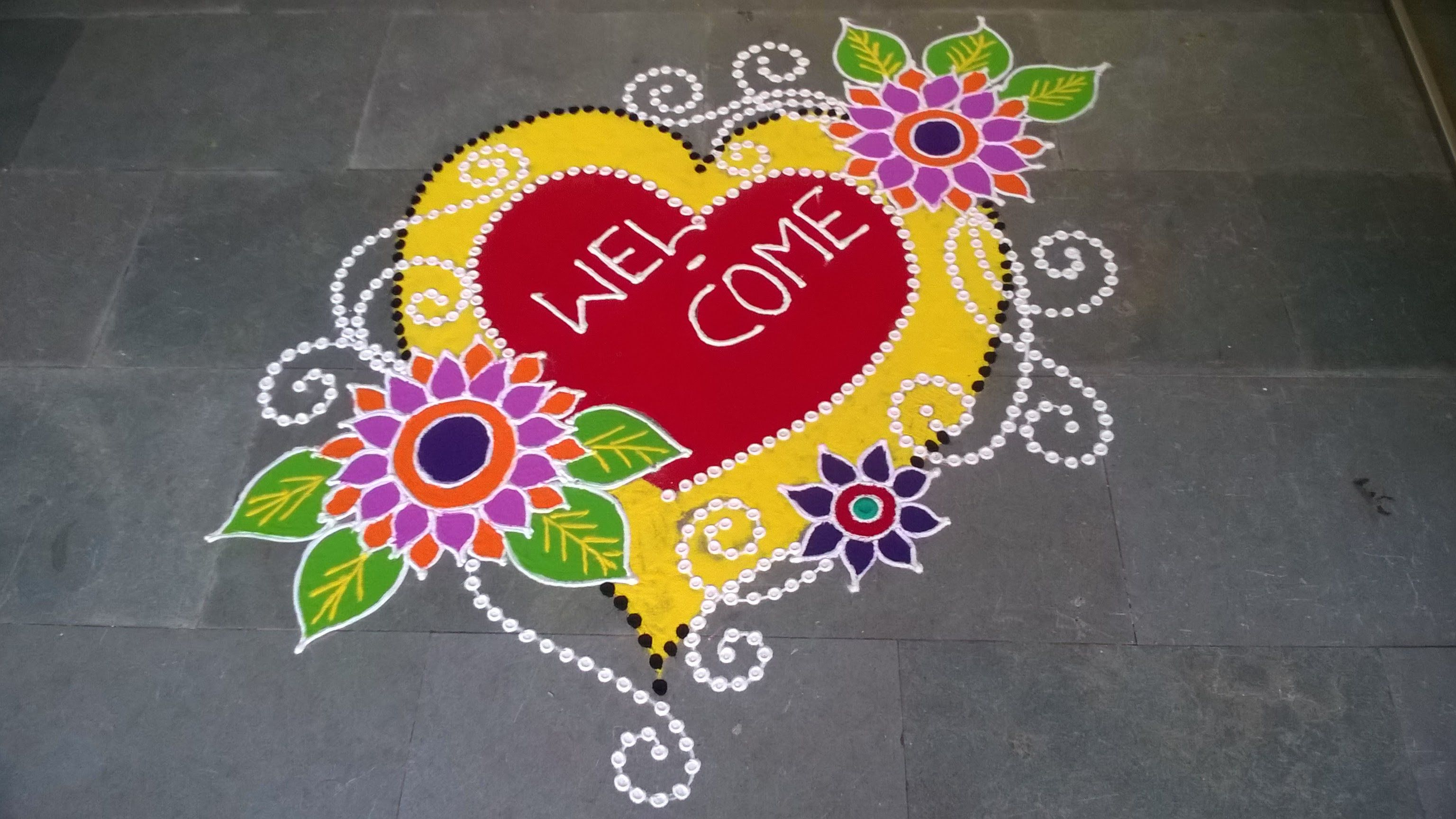 Freehand Rangoli Design(New Year Special) New year