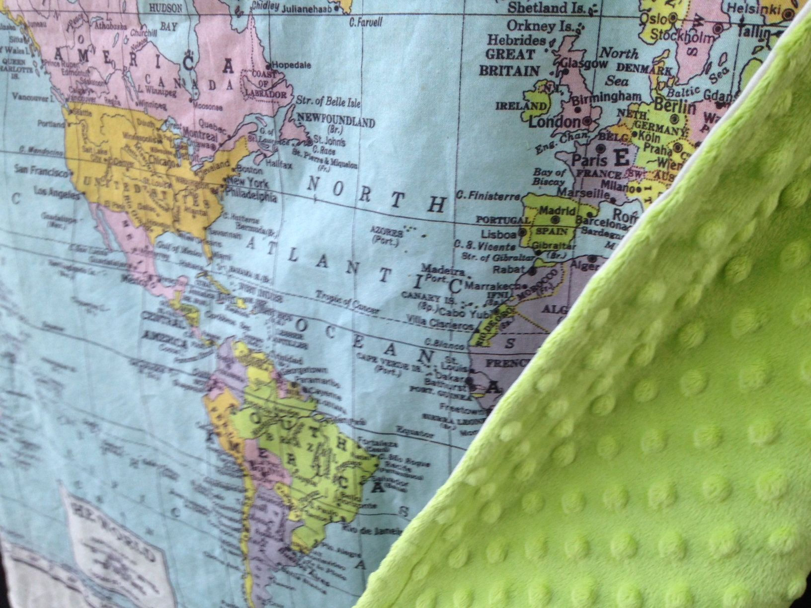 World map minky baby blanket baby cuddle quilt or shoulder world map minky baby blanket baby cuddle quilt or shoulder blanket wheelchair lap gumiabroncs Gallery