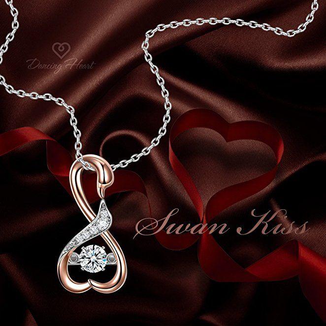 Dancing Heart Schwan Kuss Kette Damen Silber 925 Herz Schmuck Weihnachten  Weihnachtsgeschenk Geschenke Frauen Geburtstagsgeschenke Valentinstag