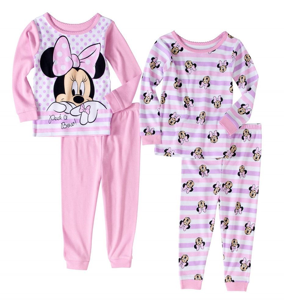2c1de429e Baby Girls Disney Minnie Mouse 4pc Cotton Pajamas Set Mix   Match ...