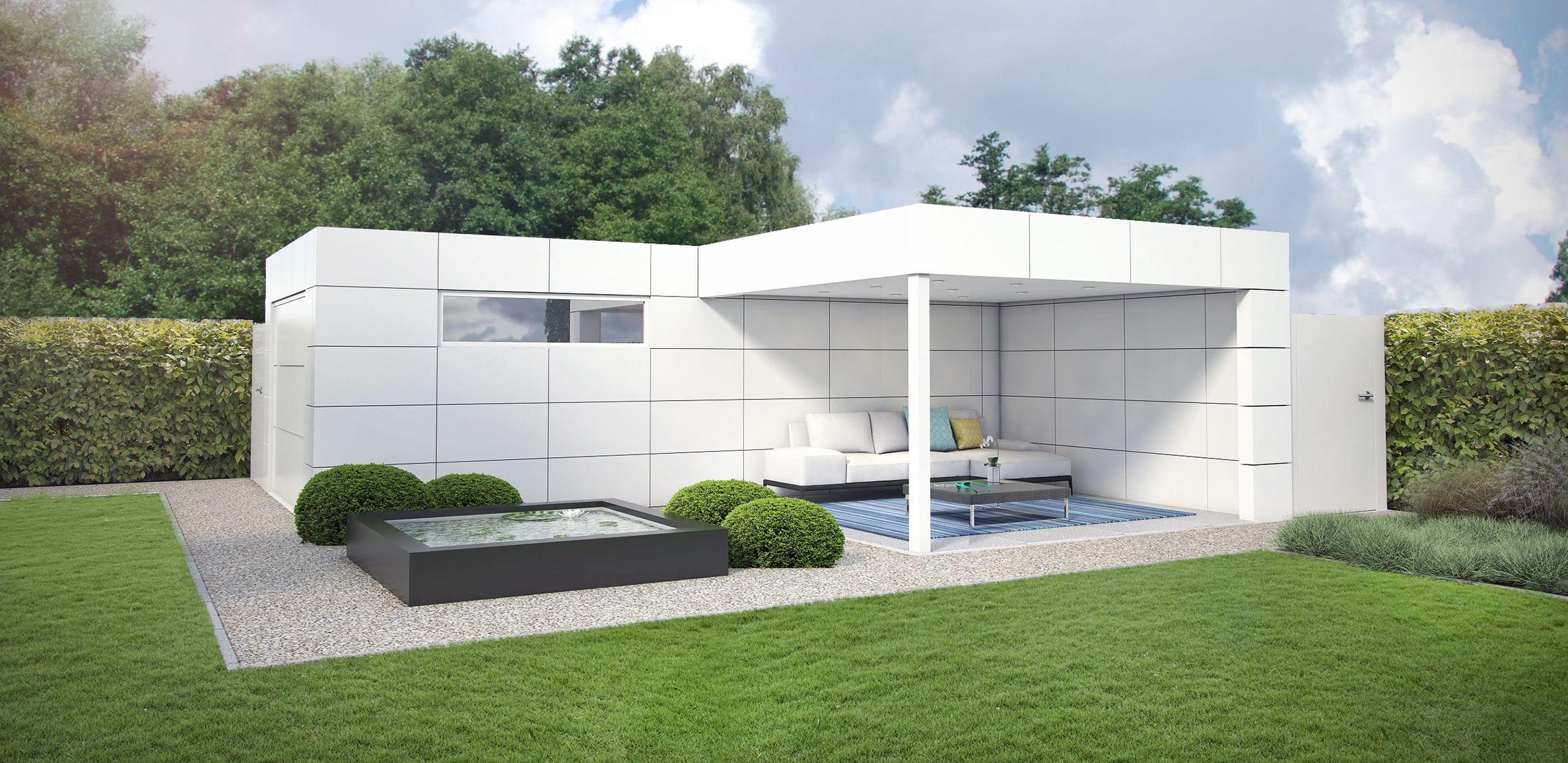 Tuinberging aluminium poolhouse tuinhuis modern moderne for Tuinaanleg modern