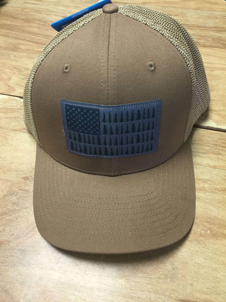 76546329d3bf6 NEW COLUMBIA PFG MESH HAT CAP - FLEX-FIT -TAN DELTA TREE FLAG - S M - HOT   Columbia  Hat