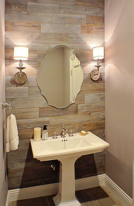 Powder Room Reclaimed Wood Wall Chrome Sconces Pedestal Sink