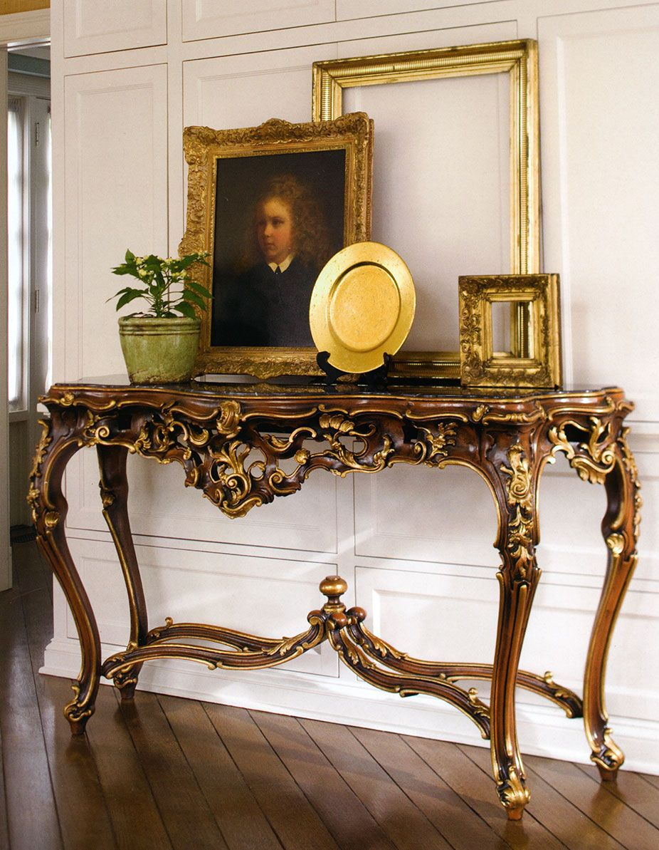Beautiful interior with french style carved console table luxury find this pin and more on luxury furniture beautiful interior with french style carved console geotapseo Gallery