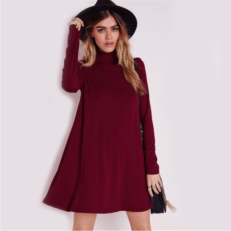 2ba8b44b4c83 Simple Fashion High Neck Long Sleeve Loose Short Dress