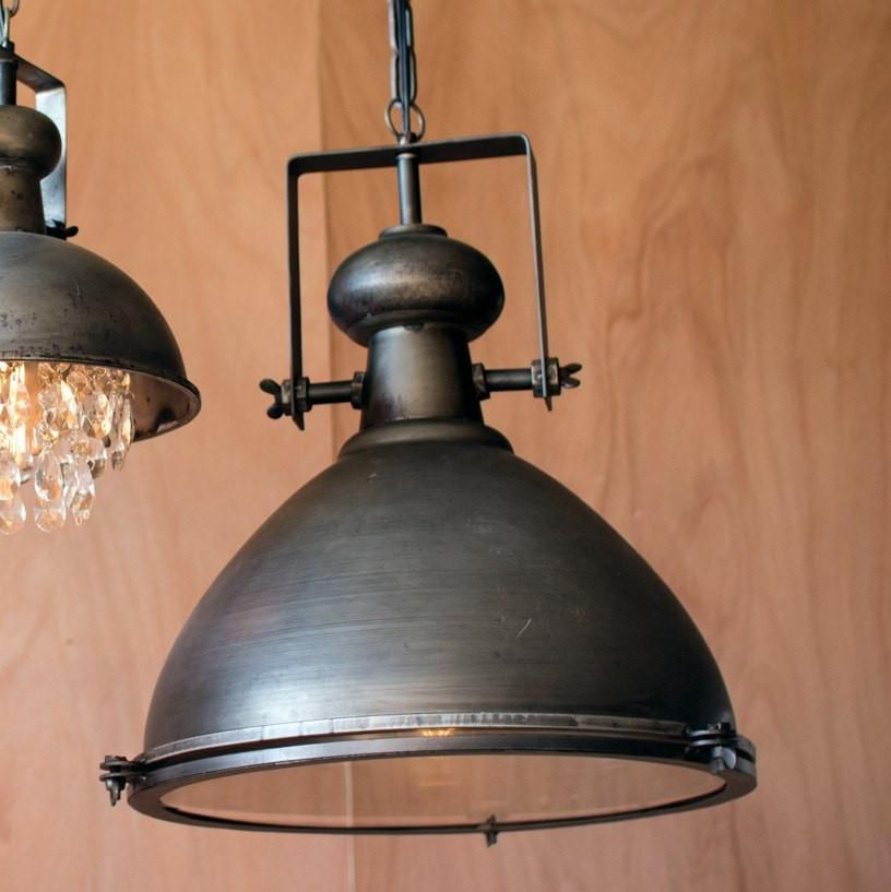 Large Metal Pendant With Glass Cover Industrial Farmhouse Lighting Farmhouse Lighting Rustic Lighting