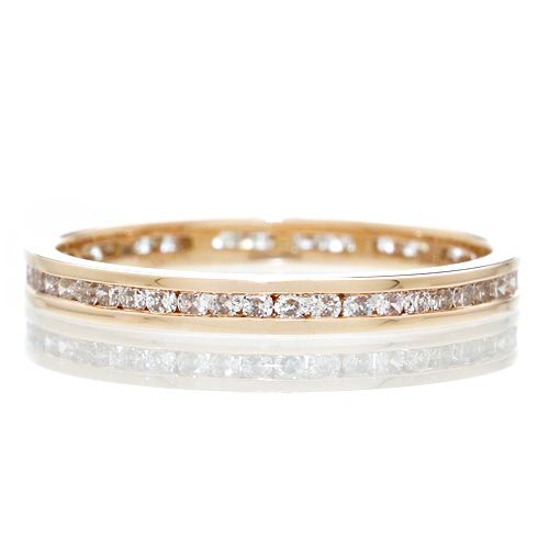 Eternity 2mm round diamond wedding band channel set ring rose gold