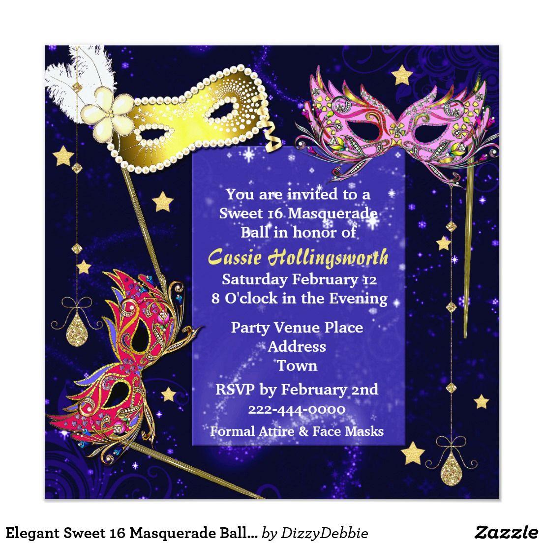 Elegant Sweet 16 Masquerade Ball Invitation | Sweet 16 masquerade ...