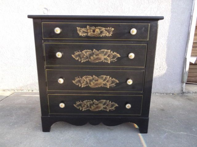 L Hitchcock Paint Decorated Black Dresser Bachelors Chest   eBay. L Hitchcock Paint Decorated Black Dresser Bachelors Chest   eBay
