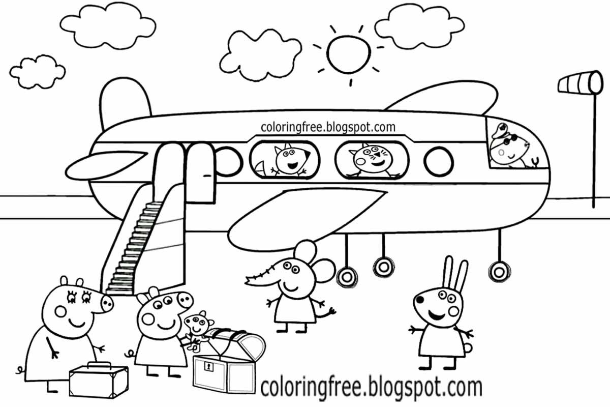 printable peppa pig kids coloring pages