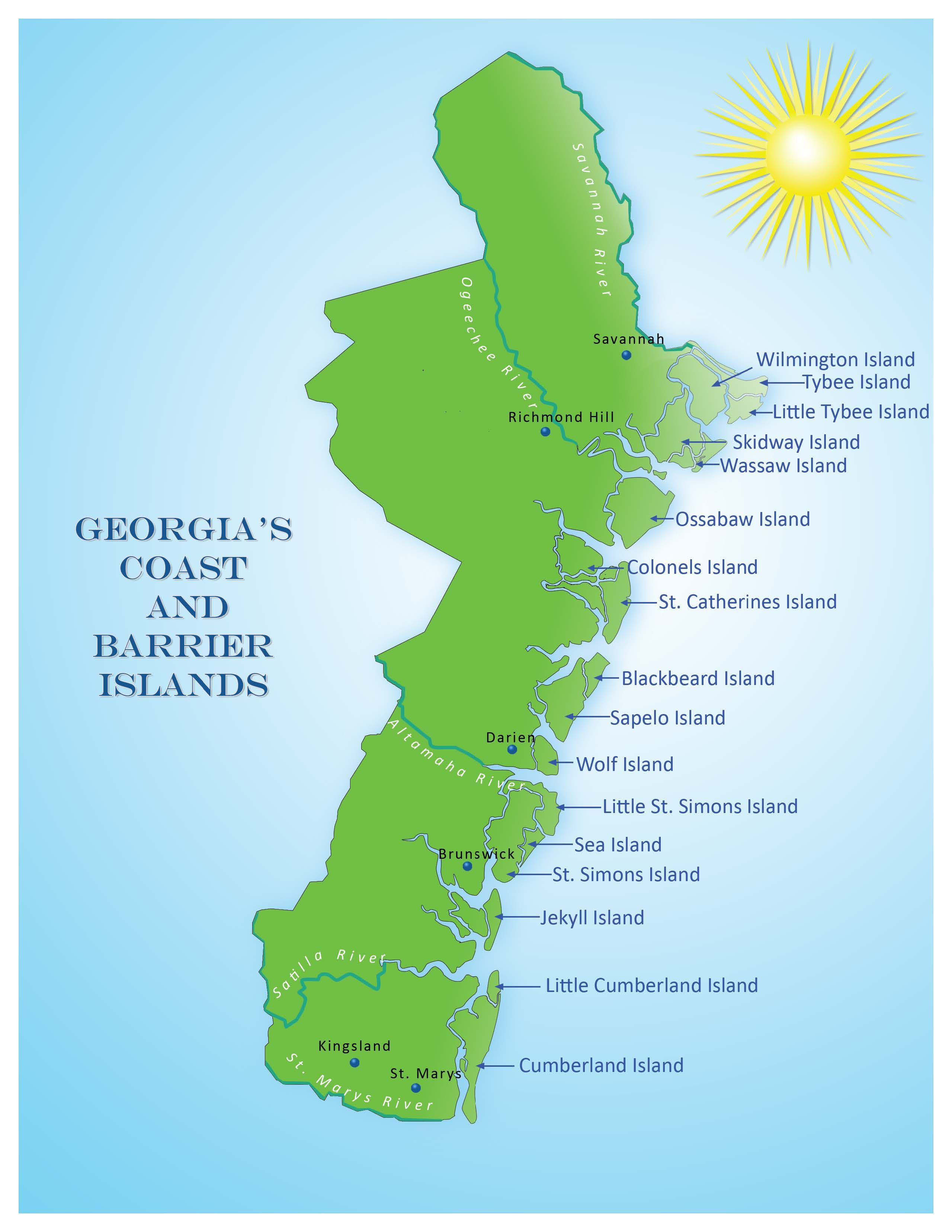 Map Of Georgia Barrier Islands.Click The Map For A Closer Look At Georgia S Coastline And Barrier