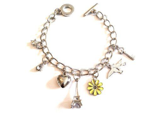 "Silvertone Yellow Flower Eiffel Tower Heart Charm Toggle Stye Bracelet Sabz Jewelry. $3.99. enamel accent. bracelet measure 7"" inches long. nickel and lead free. Flower Eiffel Tower Heart Charm Toggle Stye Bracelet. designer inspired style. Save 80% Off!"